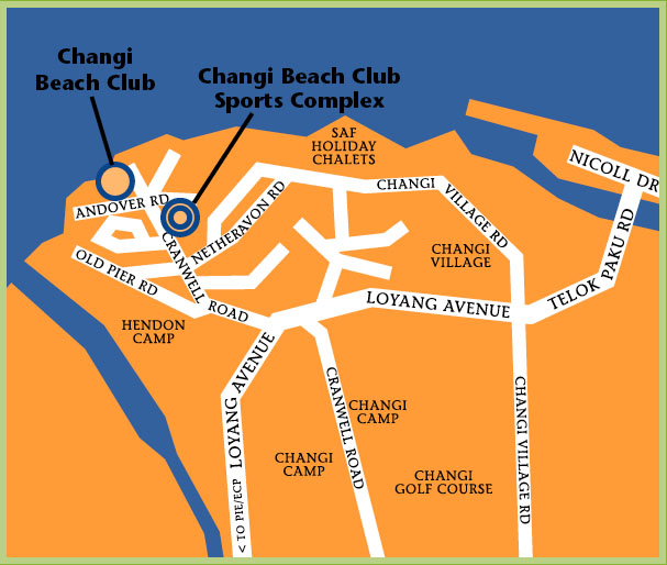 Map showing location of Changi Beach Club